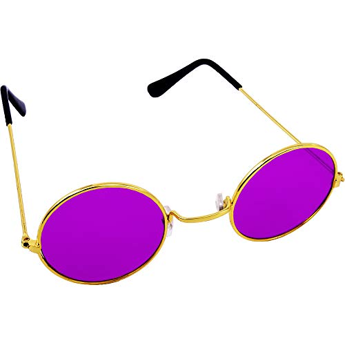 German Trendseller® Brille John Lennon - Lila - Deluxe┃ Hippie Flower Power ┃ Farbige Gläser ┃ Ultra Violett ┃ Peace Brille