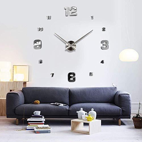 OERTUFU Reloj de Pared Reloj de Pared Sala de Estar Reloj Creativo Simple Nordic Wall Clock DIY Sticker Silver Watch