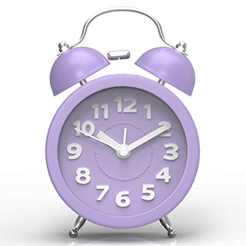 PILIFE Mini Child Silent Twins Bell, Reloj de Alarma analógico Junto a la Cama, con batería, Estilo Retro y clásico - Púrpura