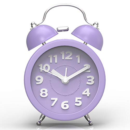 PILIFE Réveille-Matin du lit au Style classicisme Mini et Silencieux ; Trois Pouces (avec Le feu rétro-éclairage), Manipulation de Batterie, réveille-Matin Double Clochette Rond (Violet)