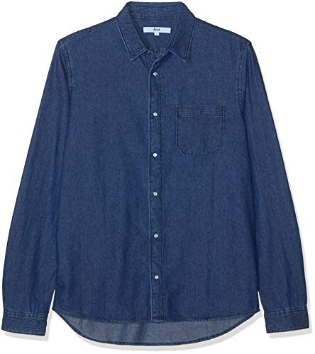 Marchio Amazon - find. Camicia Chambray Regular Fit Uomo, Blu (Dk.wash), L, Label: L