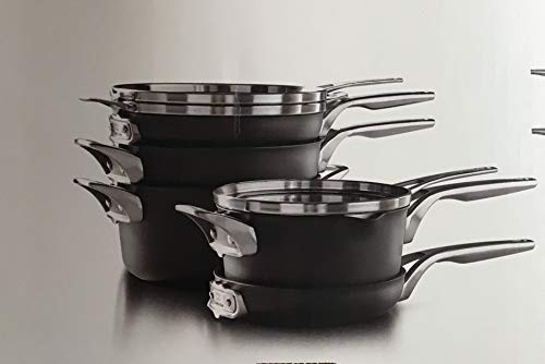 Calphalon Premier Hard Anodized Nonstick Space Saving Cookware | Stackable | Set of 8 | 5 Vessels &...