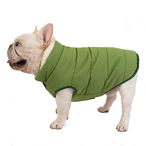 SMALLLEE_LUCKY_STORE Pet Fleece Lined Bomber Vest Jacket Down Coat for Bulldog Fat Dogs Winter Warm French Bulldog Clothes,Green Size S