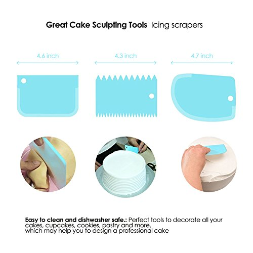 PROVACTO 11 Inch Rotating Cake Turntable with 3 Icing Spatula and 3 Scrapers, Revolving Cake Stand with Non-slip Silicone Ring Base, Cake Decorating Supplies Set 7 pcs