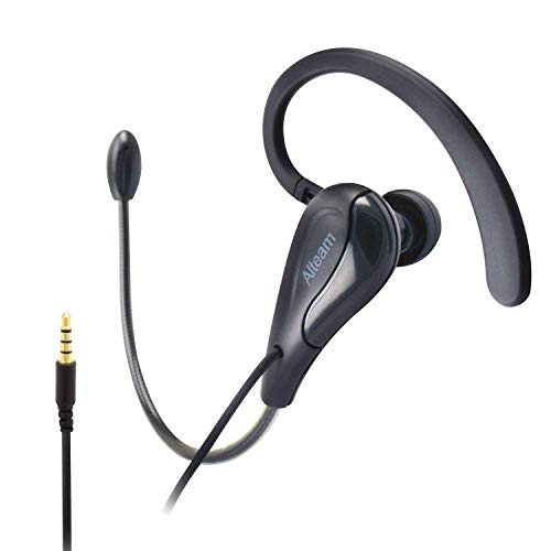 ALTEAM Wired Mono Single Headset One Hook Design Earphone Earbud with Bendable Boom Arm Mic, Adjustable in Ear Angle and Earhook Length, 15mm Driver, 3.5mm Plug for Smart Mobile Cell Phone Tablet PC