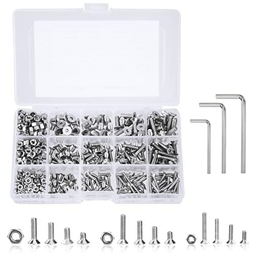 Tornillos y Tuercas M3 M4 M5 Pernos Tuerca de Cabeza Hexagonal de Acero Inoxidable Kits con Caja de Almacenamiento y llave Allen 440 piezas