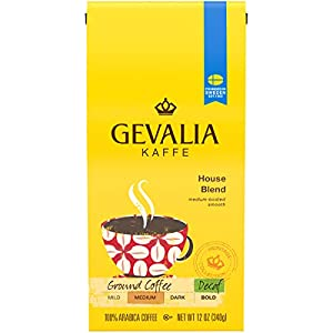 Gevalia Decaf House Blend Medium Roast (12 oz Bags, Pack of 6)