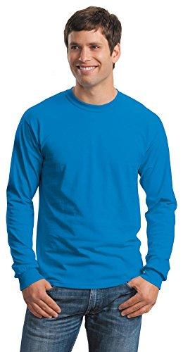 T-shirt Gildan 100% cotone G2400a maniche lunghe, uomo, colore blu, Uomo, Bleu - Saphire, S