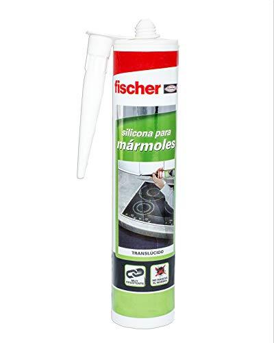 fischer – Silicona Mármoles Trans (tubo de 300 ml) silicona transparente para pegado y sellado de mármoles, gran adherencia, no mancha el material, para escaleras de mármol, suelos y zócalos