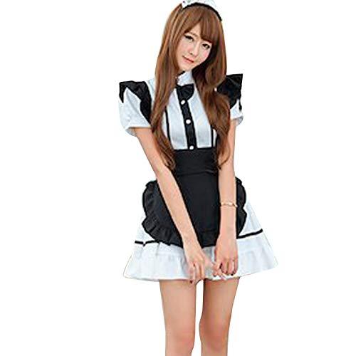 ZYZS Lencera sexy para nias, para Halloween, juego de rol, disfraz de Lolita francesa, manga corta, disfraz para cosplay Blanco L