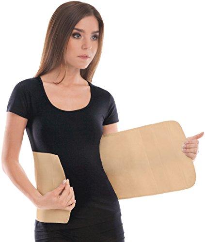 Cinturón elástico postoperatorio abdominal 24cm / Faja postparto y postoperatorio/Apoyo de los músculos abdominales y lumbosacro/Unisex/Large Beige