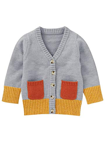 Makkrom Toddlers Baby Boys Girls Button Up Cardigan Sweaters V-Neck Color Block Knit Winter Warm Outwear Grey