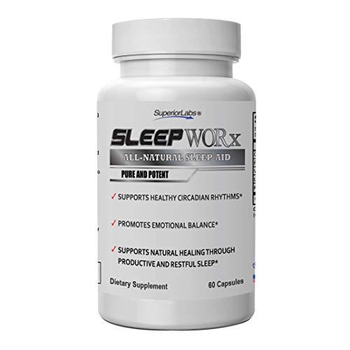 Superior Labs Sleep Worx -Sleep Aid Supplement for restful Sleep | Relax & Fall Asleep Fast | 100% All-Natural Sleep Formula | Non-Habit Forming
