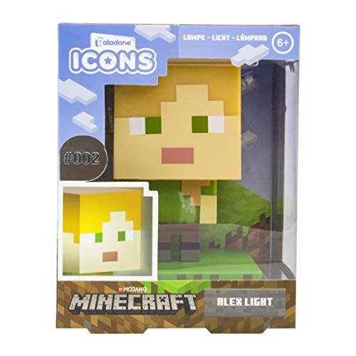 Paladone Minecraft Alex Icon Licht BDP | Mini Nachtlamp Plezier Pixelated | Super Heldere Collectable, Multi Coloured