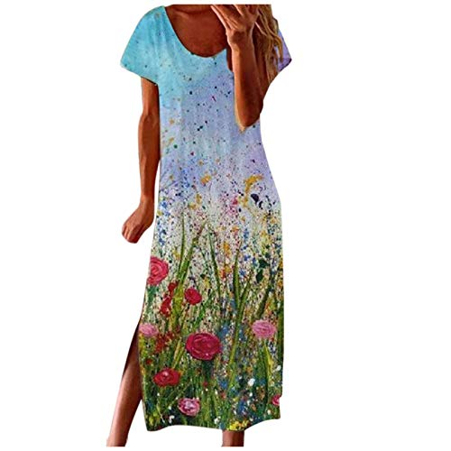 NMSL Dresses for Women Casual Floral Print Plus Size Dresses Pink Dress Plus Size Women Long Dresses #05 Blue XX-Large