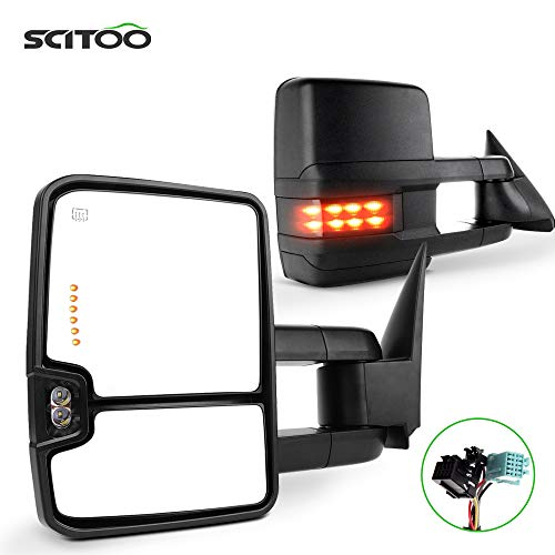SCITOO Towing Mirrors Tow Mirrors Black Truck Mirrors fit for 2003-2007 for Chevy Silverado for GMC Sierra 1500 2500 3500(07 New Body Style) with Pair LH RH Power Adjusted Heated Turn Signal Light
