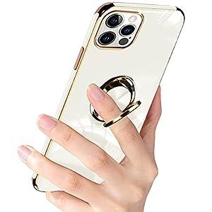 IPhone13 pro ケース リング iphone 13 pro カバー リング付き 携帯カバー 耐衝撃 TPU ソフト シリコン スタンド機能付き 360回転車載ホルダー (クリーミーホワイト)