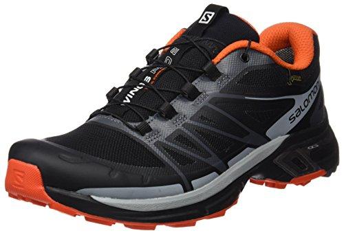 Salomon L39030000, Zapatillas de Trail Running para Hombre, Negro (Black/Dark Cloud/Tomato Red), 42 EU