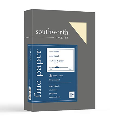 "Southworth 100% Cotton Business Paper, 8.5"" x 11', 32 lb/120gsm, Wove Finish, Ivory, 250 Sheets - Packaging May Vary (JD18IC)"