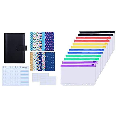Antner 27pcs A6 PU Leather Binder Budget Cash Envelopes System (Black) Bundle   12pcs Binder Pockets A6 Size Multicolor Zipper