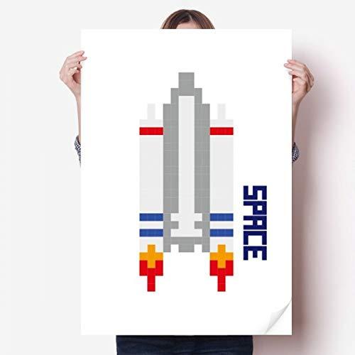 DIYthinker Raket voor ruimteschip universum Pixel Vinyl Muursticker Poster Fotobehang Kamer Decal 80X55Cm