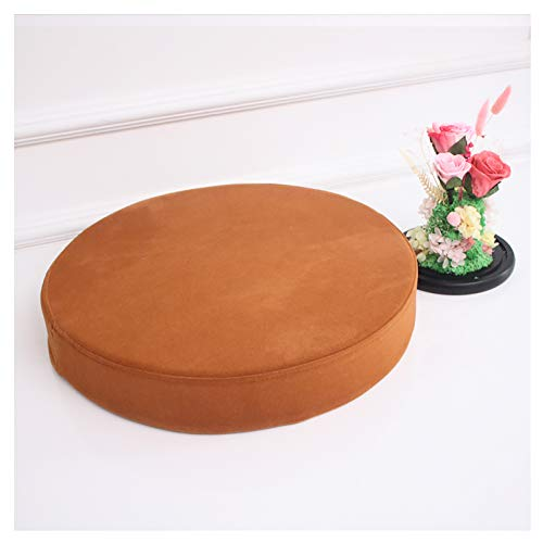 Round Seat Pads,Round Couch Cushion,Flannel cover half-opening hidden zipper Chair Cushions Seat Pads,Indoor Outdoor Round Seat Pad Cushions,2'(5cm) thick Multi-size color-Brown 35x5cm(13.7x2in)
