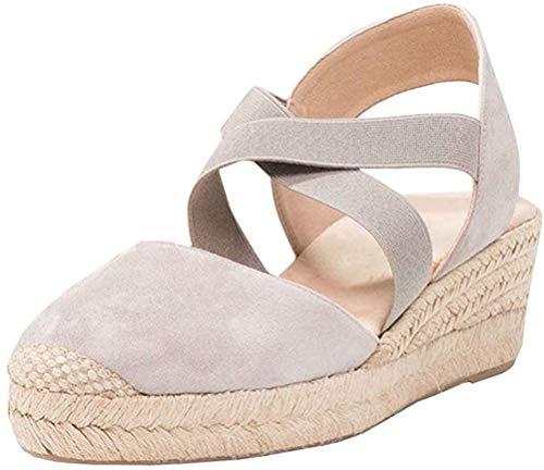 Tomwell Sandalias Mujer Cuña Alpargatas Moda Bohemias Romanas Sandals Rivet Playa Verano Tacon Zapatos B Albaricoque 35 EU