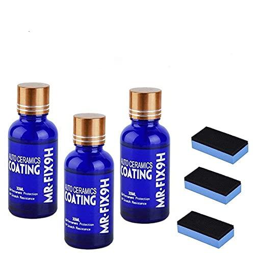 LZS Cire de revêtement de Voiture en céramique CÉRAMIQUE 9H Mr Fix, Peinture Nano Liquide Anti-Rayures pour Voiture 30ML (3Pieces)