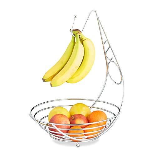 Relaxdays Corbeille à fruits avec porte bananes en métal chromé porte grappe de raisin sur pieds HxlxP: 42 x 29,5 x 32 cm, argenté