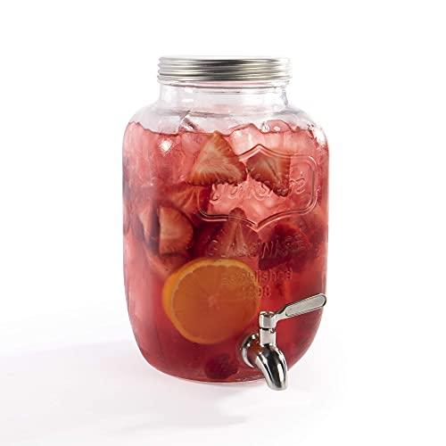 Dispensador de bebidas y cócteles de vidrio grande   Dispensador de agua con grifo   Capacidad 4L   Interior y exterior   Tarro de masón   M&W