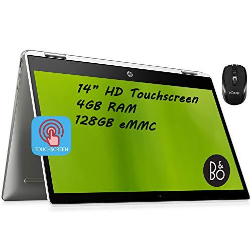 Flagship HP Chromebook x360 14 2 in 1 Laptop 14' HD Touchscreen Display Intel Quad-Core Pentium Silver N5000 4GB DDR4 128GB eMMC WiFi USB-C B&O Play Chrome OS + iCarp Wireless Mouse