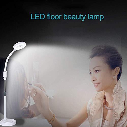 FACAIA LED Beauty Floor Línea de luz fría Soft Eye 8X Lupa Cuello Flexible Adecuado para la Lectura de uñas de Belleza Blanco