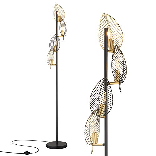 WOXXX Industrial Black Floor Lamp with 4 Brush Gold Finish Leaf Shade, Modern Tree Floor Lamps for...