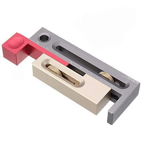 KKmoon Tischsägenschlitz-Einsteller, Einsteck- und Zapfenwerkzeug, beweglicher Messblock, Zapfenmacher, Längenausgleich, Oberfräsentisch, Holzbearbeitungswerkzeuge