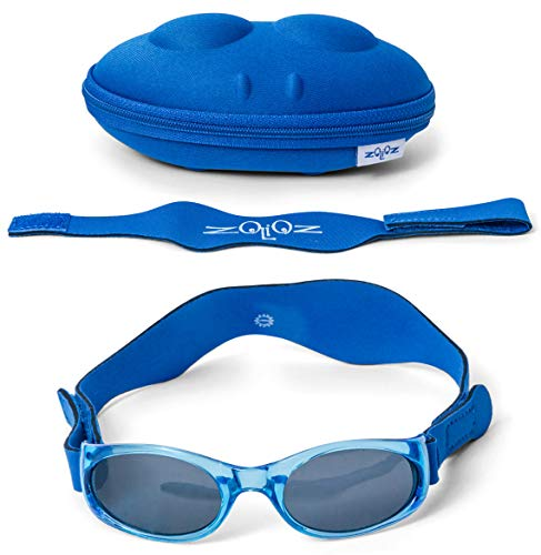 Tuga Baby/Toddler UV 400 Sunglasses w/ 2 Straps & Case, Blue