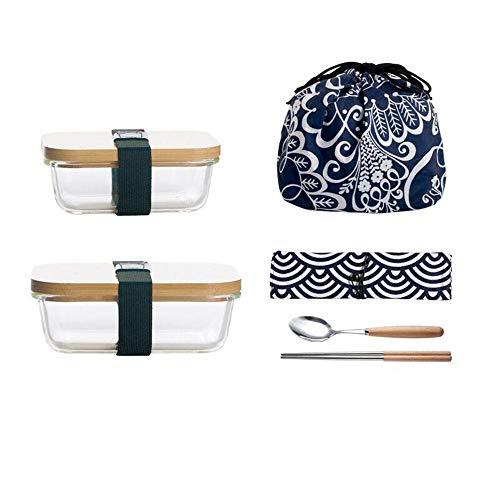 SGHTYJ Lunch Box Bento Boîte Style japonais en verre isolant résistant à la chaleur Couverture en bambou Fresh Keeping Box 600 ml + 320 ml avec une cuillère et un sac à lunch