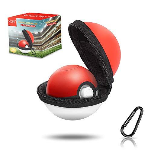 VORI Funda para Pokeball Plus, funda de transporte portátil para Nintendo Pokemon Plus, bolsa protectora de almacenamiento rígida con mosquetón desmontable para driver Pokémon...