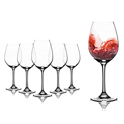 Modvera Stemmed Wine Glass 16 Ounce   Lead Free Crystal Clear Classic Design   Perfect for Red Wines & White Wines at Your Next Elegant Dinner Party or Event   Elongated Bowl Design   Set of 6