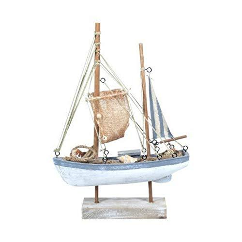 CAPRILO Figura Decorativa Marinera de Madera Barco Velero. Adornos y Esculturas. Decoración Hogar. Iluminación. Regalos Originales. 40 x 28 x 7 cm.