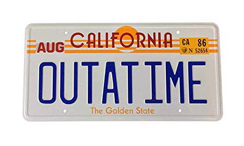 California Outatime DeLorean Aluminium License Plate. Put it on your mancave door, your mobility scooter or even in your bathroom, if you wish!