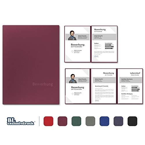 5 Stück 4-teilige Bewerbungsmappen BL-exclusivdruck® MEGA-plus in Bordeaux - Premium-Qualität mit edler Relief-Prägung 'Bewerbung' - Produkt-Design von 'Mario Lemani'
