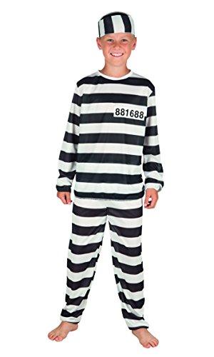 Boland 82182 Karnevalskostüm Stäfling Gefangener schwarz, 140