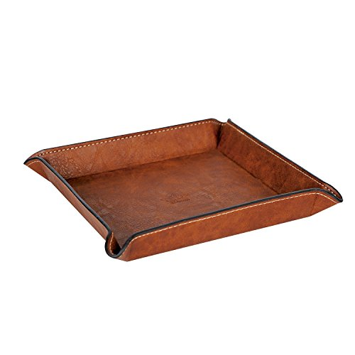 4Queens Leather Valet Tray - Fully PU Leather Jewelry Catchall Key Phone Wallet Coin Tray Caddy Bedside Storage Tray (Brown L)
