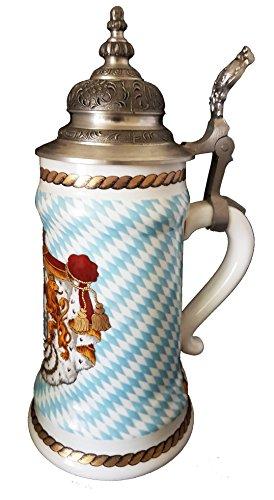 Jarra de cerveza Baviera Escudo con un majestä Mesas Estaño tapa durchscheinbild König Ludwig