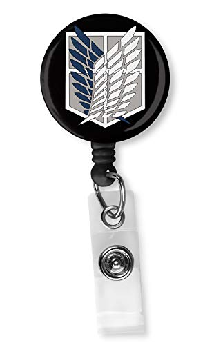 Attack On Titan Scouting Legion Retractable ID Card Badge Reel with Alligator Clip Name Nurse Decorative Badge Holder Clip on Card Holders