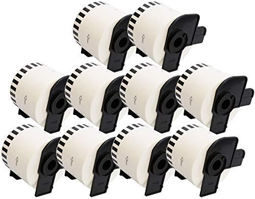 10 x Rolle DK22205 Endlos-Etiketten kompatibel zu Brother QL-500, QL-550, QL-560, QL-570, QL-580N, QL-650TD, QL-700, QL-720NW, QL-1050, QL-1060N (62mm x 30.48m) - weiß Endlosrolle