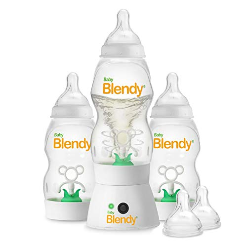 Baby Blendy Baby Bottles - Best Infant to Toddler Milk Feeding Containers with Anti-Colic | Air Vent System - with Blender Mixer for Babies Newborns Infants Toddlers | (0-3 Months) Premium Bundle