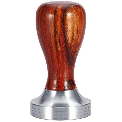 Koffie sabotage, Handheld rood sandelhout handvat Espresso tamper schroefdraad base koffieboon PowerPress Tool (Dia.51Mm),Brown