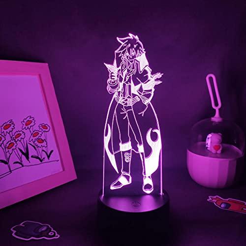 Lámpara De Ilusión 3D Luz De Noche LED Tengen Toppa Gurren Lagann Figura de anime Simon RGB Manga colorida Regalo Dormitorio Dormitorio Escritorio Lámpara de mesa Decoración