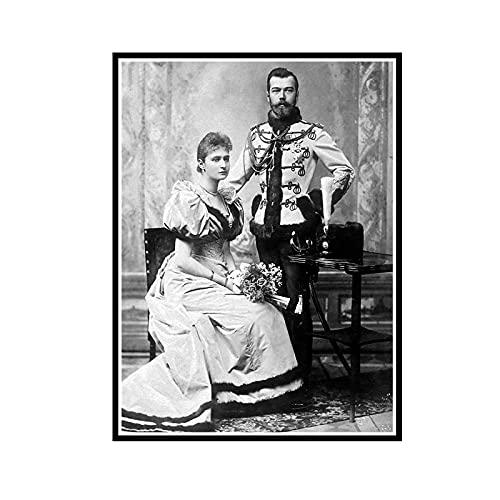ADNHWAN Nozze dello zar Nikolai II Alexandrovich Romanov Imperatore di Russia Ritratto Poster Decorativo da Parete su Tela Home Decor -60x80cm No Frame 1 PCS